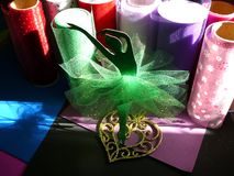 Green Paper Ballerina Mixed Media Art stock photo