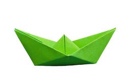 Green paper boat. Isolated green paper boat on white background Royalty Free Stock Images