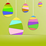 Green Paper Card with Striped Easter Eggs. Green Paper Card with Striped Easter Eggs, Vector Illustration Background Stock Image