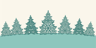 Green paper Christmas trees decoration Stock Photo