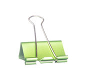 Green paper clip isolated on white Royalty Free Stock Photography