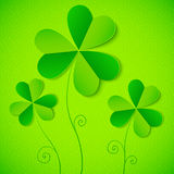 Green paper clovers background for Patrick's Day Royalty Free Stock Image