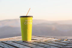 Green paper cup of cold drink Stock Image
