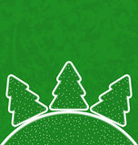 Green paper cut-out set christmas tree Stock Images