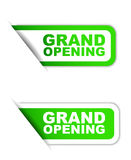 Green  paper element sticker grand opening in two variant Royalty Free Stock Image