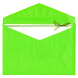 Green paper envelope with bow Stock Photos