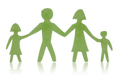 Green paper family isolated Stock Photos