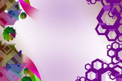 green paper flowers and purple hexagon, abstract background Royalty Free Stock Image