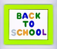 Green paper frame with words Back to school Stock Photos