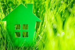 Green paper house Stock Photos