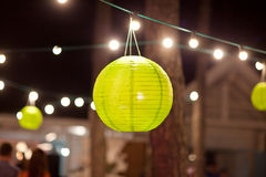 Green paper lantern outdoor party Royalty Free Stock Images