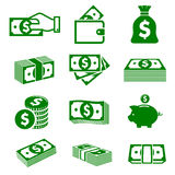 Green paper money and coins icons Stock Photography