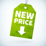 Green paper new price tag Royalty Free Stock Photography