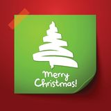 Green paper note with christmas design. With realistic shadow Stock Images