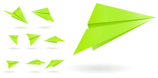 Green Paper Planes Royalty Free Stock Photos