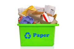 Green paper recycling bin isolated on white