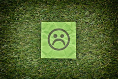 Green paper with sad unhappy face on a green grass Royalty Free Stock Photography