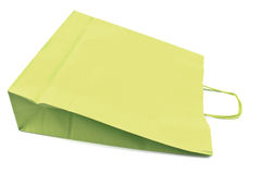 Green paper shopping bag Stock Photos