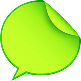 Green paper speech bubble sticker Stock Photo