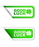 Green  paper sticker good luck two variant Royalty Free Stock Photo