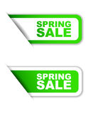 Green  paper sticker spring sale  two variant Royalty Free Stock Photography