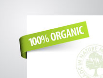 Green paper tag for organic item Stock Image
