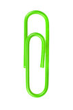 Green paperclip isolated on white background Royalty Free Stock Image