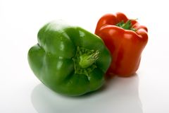 Green paprika. Photo of a green and a red paprika Stock Images