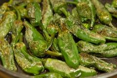 Green paprika pimento patron. Groups of green paprika pimento patron pepperoni Stock Images