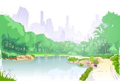Green park in city center pond trees and road path Royalty Free Stock Image