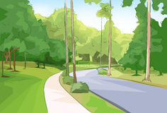 Green Park Forest Road Modern City Vector Stock Photo