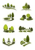 Green park and garden landscape icons Stock Photo