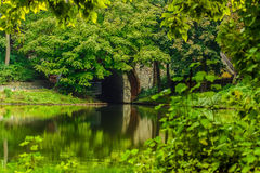 A green park in Germany. A green park with a lake and an ark in Berlin, Germany Royalty Free Stock Photos