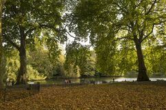 Green Park London Great Britain, October 16 2017. People walking in the park, Beautiful autumn day. Colorful trees and leafs lying on grass royalty free stock image