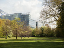 Green park at spring season in Berlin financial centre, Germany landscape , citylife concept, nobody Royalty Free Stock Photos