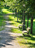 Green park way. With benches royalty free stock photos