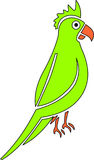 Green parrot. One parrot Vector Illustration