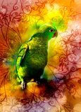 Green parrot and ornaments and softly blurred watercolor background. Royalty Free Stock Image