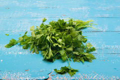 Green parsley on a vintage wood Stock Image