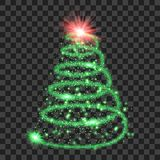 Green particle wave in form of christmas tree. With bright shining and glowind particles  on transparent background. Glitter bright trail, glowing wave vector Royalty Free Stock Photos