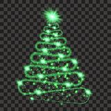 Green particle wave in form of christmas tree. With bright shining and glowind particles isolated on transparent background. Glitter bright trail, glowing wave Stock Photos