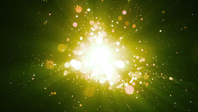 Green Particles Abstract Background. Background with abstract particles and shining light rays. 8K Ultra HD Resolution at 300dpi Stock Photography