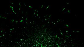 Green particles sparkle spray debris. Overlays texture background. Design element stock image