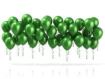 Green party balloons row Royalty Free Stock Photo