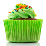 Green party cupcake Stock Photos