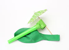 Green party decoration. Isolated on white background stock image