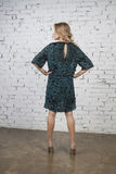 Green party dress, Back view Stock Photography
