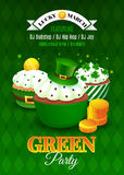 Green party flyer. Inviting card for celebration St. Patrick's Day. Vector illustration with cup cakes, hat, clovers and gold coins. EPS 10 stock illustration