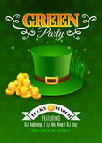 Green party flyer. Inviting card for celebration St. Patrick's Day. Vector illustration with green hat and golden coins. EPS 10 vector illustration