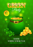 Green party flyer. Inviting card for celebration St. Patrick's Day. Vector illustration with green kettle, golden coins and clovers. EPS 10 royalty free illustration